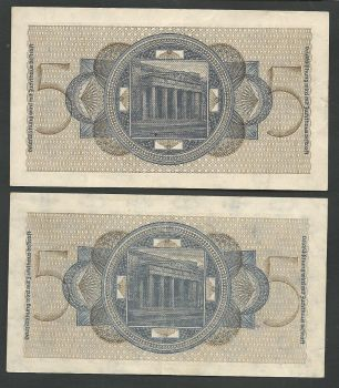 WWII (Occupation period) Set of 2 German notes 5 DM circulated in Greece (7 & 8 digits!)