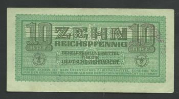 Greece: WWII (occupation period) 50 pfennig with two stamps (Greek+German) High grade!