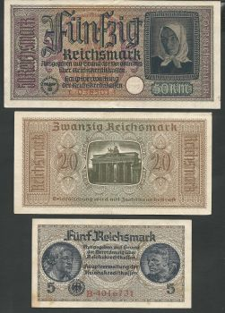 WWII (Occupation period) Full set of 6 German notes circulated in Greece (High grade!)