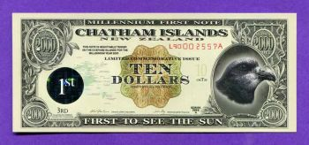 CHATHAM ISLANDS NEW ZEALAND 10 Dollars 1999 POLYMER UNC