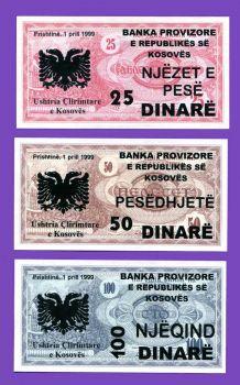 KOSOVO SET(3),  25-50-100 DINARS UNC