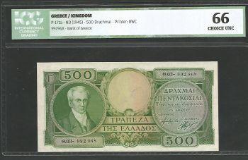 Greece: Drachmae 500/1945 Capodistrias! ICG 66 Choice UNC!!