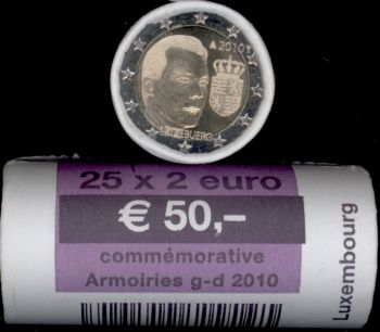 Luxembourg 2 Euro roll CC 2010 Arms of the Grand Duke