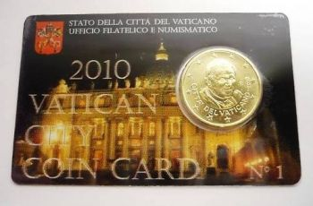 VATICAN OFFICIAL EURO 50c COIN CARD Pope Benedict 2010