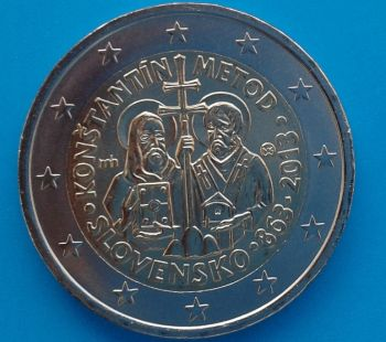 SLOVAKIA 2 Euro coin 2013, SAINT CONSTANTINE AND METHODIUS UNC