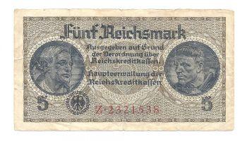 Nazi Germany WWII Occupied Europe 5 Reichsmarks