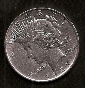 USA: One Dollar silver coin 1922