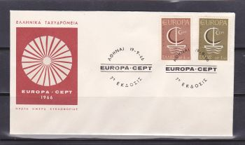 GREECE EUROPA CEPT 1966 FDC