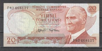 Turkey 20 Lira 1970 Pick 187b