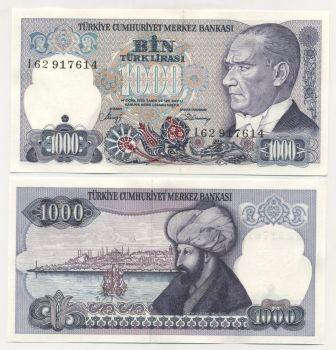 Turkey 1000 Lira L.1970 (1986) Pick 196 UNC