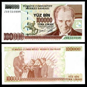 TURKEY  100,000 LIRA 1970 (1997) UNC P 206