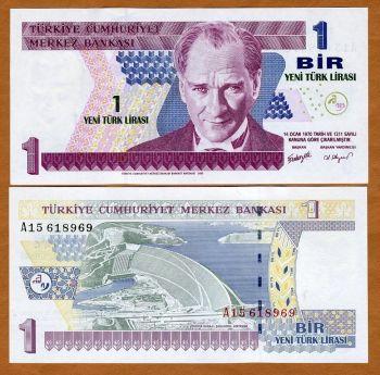 Turkey, 1 New Lira L. 1970 (2005), P-216, UNC