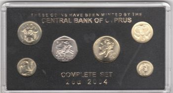 CYPRUS 2004 COMPL. COINS SET UNC LAST ISSUE BEFORE EURO