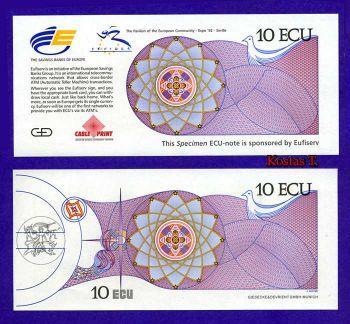 SPAIN 10 ECU 1992 SPECIMEN COMMEMORATIVE UNC