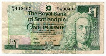 SCOTLAND CLYDESDALE BANK 1 POUND 1969 AUNC