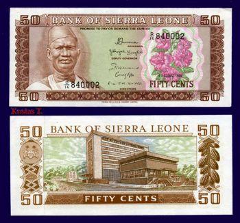 SIERRA LEONE 50 CENTS 1984 P 4 UNC