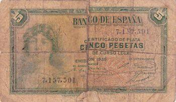 SPAIN 25 PESETAS 1928 P-74b AUNC