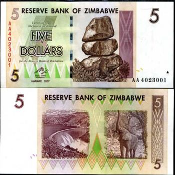 ZIMBABWE 5 DOLLARS 2007 P NEW UNC