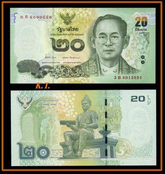 THAILAND 20 BAHT 2013 NEW DESIGN UNC