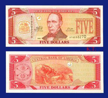 LIBERIA 5 DOLLARS 2009 UNC