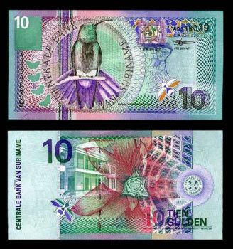 SURINAME 10 GULDEN 2000 UNC (BLACK-THROATED)