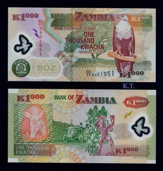ZAMBIA 1000 KWACHA POLYMER 2011 UNC