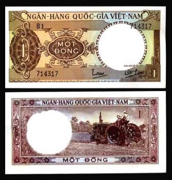 SOUTH VIETNAM 1 DONG 1964 P 15 AUNC