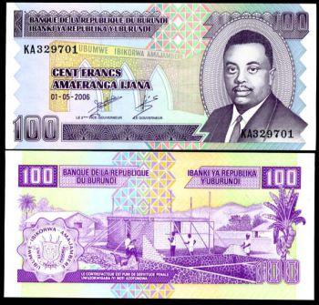BURUNDI 100 FRANCS 2006 P NEW UNC