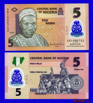 NIGERIA 5 NAIRA 2009 POLYMER UNC