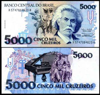 BRAZIL 5000  CRUZEIROS 1992 P 232 UNC
