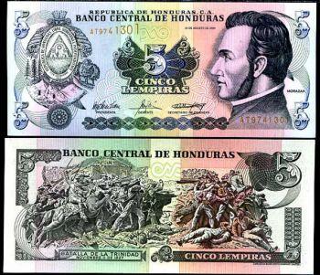 HONDURAS 5 LEMPIRAS 2008 P 85 UNC