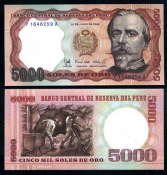 PERU 5000 SOLES DE ORO 1985 P 117 C AUNC