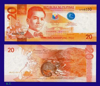 PHILIPPINES 20 PESOS 2010-2011 UNC