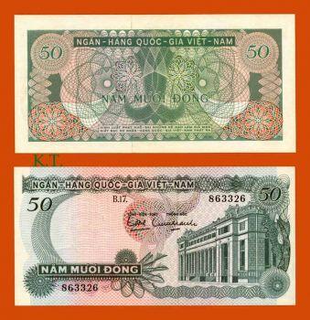 SOUTH VIETNAM 50 DONG 1969 P 25 AUNC