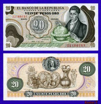 COLOMBIA 20 PESOS ORO 1979 UNC