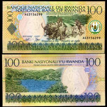 RWANDA 100 FRANCS 1.9.2003 P 29 UNC