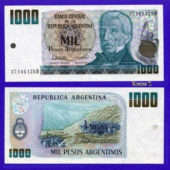 ARGENTINA 1000 PESOS 1983-85 P 317 UNC