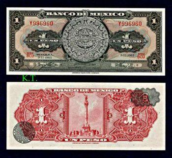 MEXICO 1 PESO 1965 (Ημερολόγιο Αζτέκων) UNC