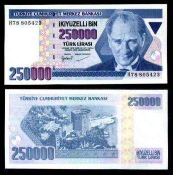 TURKEY 250000 LIRASI LIRA 1998 P 211 UNC