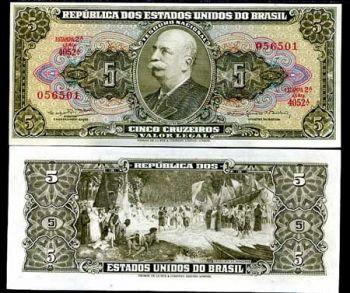BRAZIL 5 CRUZEIROS ND 1964 - 1966 P 176 UNC