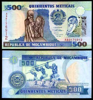 MOZAMBIQUE 500 METICAIS 1991 P 134 UNC