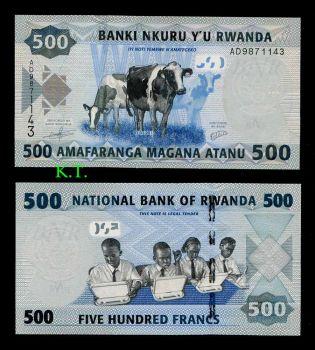 RWANDA 500 FRANCS 2013 UNC