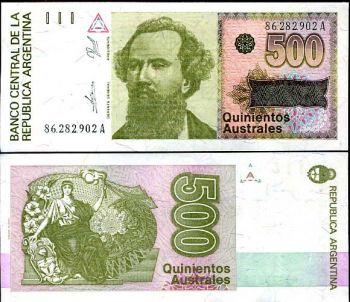 ARGENTINA 500 AUSTRALES 1990 P 328 UNC