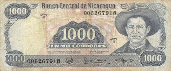 NICARAGUA 5 CORDOBAS 1972 P 122 UNC