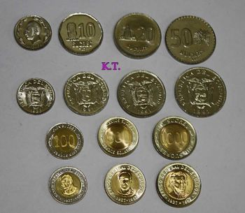 EQUADOR Set 7 UNC νομίσματα 1 έως 1000 (και διμεταλικά)