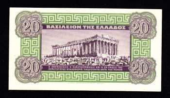 GREECE 20 DRACHMAS 1940 P315 UNC
