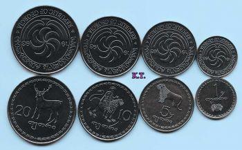 GEORGIA set 4 UNC coins 1-5-10-20 tetri
