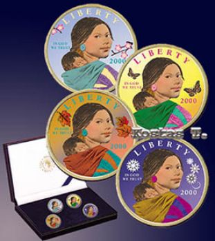 Set 4 Golden and colorized US Sacagawea Dollars UNC