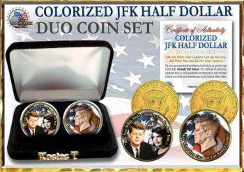 Δύο Επίχρυσα & Έγχρωμα USA J.F.Kennedy  Half Dollars