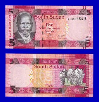 SOUTH SUDAN 5 POUNDS 2015 (2016) UNC